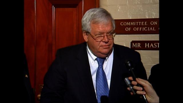 Former House Speaker Dennis Hastert is seen here talking to the press in 2015.