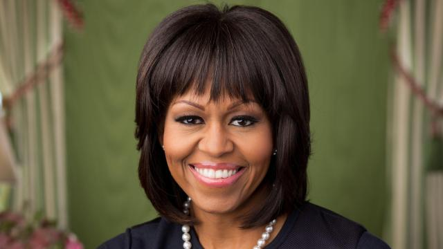 Seen here, is an official portrait of Michelle Obama in the Green Room of the White House that was made on February 12, 2013. (File Photo)