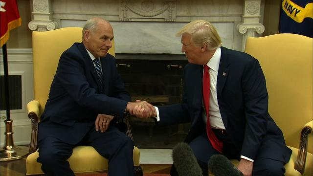 John Kelly was sworn in as President Donald Trump's new chief of staff Monday, July 31, 2017, asked with bringing order to an often chaotic White House and jump-starting the President's stalled legislative agenda.