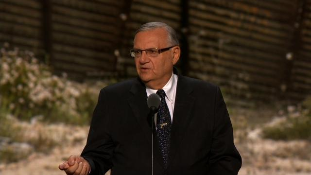 Arizona Sheriff Joe Arpaio speaks at the Republican National Convention in Cleveland, Ohio on Thursday, July 21, 2016.