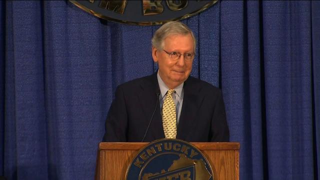 Majority Leader Mitch McConnell offered mostly praise to President Donald Trump in a speech at the Kentucky Farm Bureau's annual ham breakfast Thursday August 24, 2017 morning, as tensions between him and the President continued to escalate in recent days.
