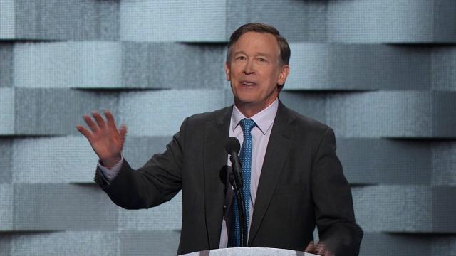 Colorado Governor John Hickenlooper addresses the Democratic National Convention in Philadelphia July 28, 2016.