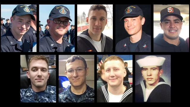 The remains of all 10 missing USS John S. McCain sailors have been recovered. From left: (top) Jacob Drake, John Hoagland, Dustin Doyon, Kevin Bushell, Timothy Eckels Jr., (bottom) Charles Findley, Kenneth Smith, Logan Palmer, Abraham Lopez. Not pictured: Corey Ingram