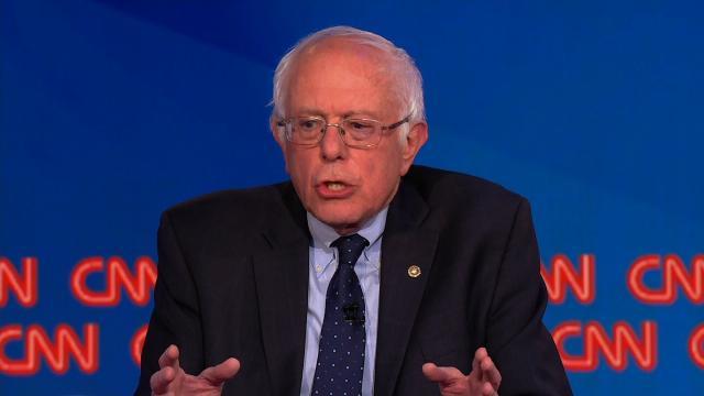 Sen. Bernie Sanders speak at a CNN town all on May 16, 2017.