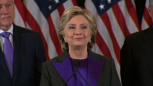 File- A somber Hillary Clinton made her concession speech, telling supporters and campaign staff members in New York City that she was proud of their effort and pledged to work with President-elect Donald Trump.