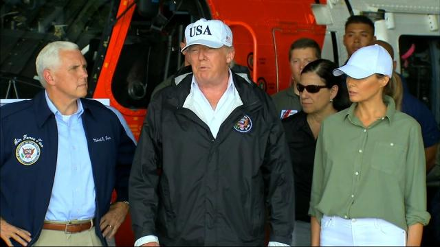 President Trump along with Vice President Mike Pence and First Lady Melania Trump visit Florida in the aftermath of Hurricane Irma on September 14, 2017.