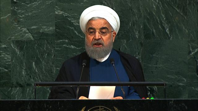 Iranian President Hassan Rouhani speaks at the United Nations General Assembly on September 20, 2017.