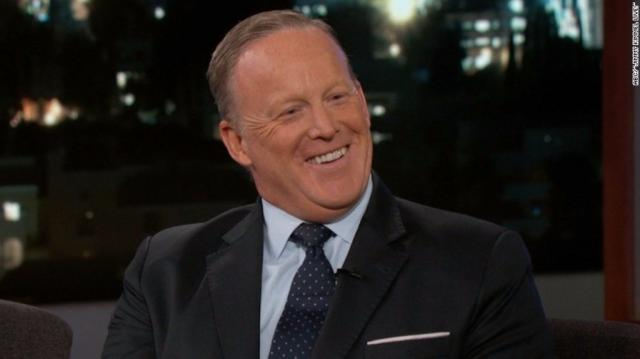 In his late night debut Wednesday, September 13, 2017 night, Sean Spicer spoke with Jimmy Kimmel about President Donald Trump, facts and the White House press conference that started it all.