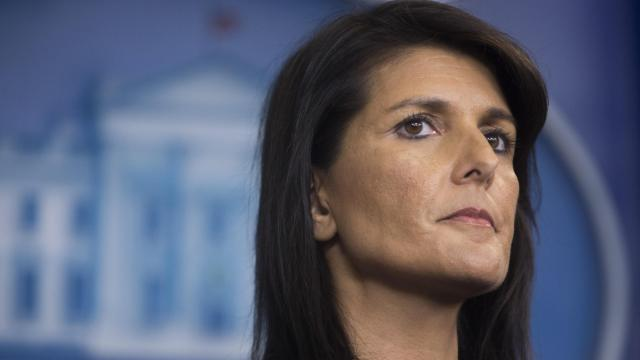 """FILE - Nikki Haley, the U.S. ambassador to the United Nations, during a news briefing at the White House in Washington, Sept. 15, 2017. Haley said on Dec. 10, 2017, that the women who have accused President Trump of sexual misconduct """"should be heard,"""" a break from the administration's assertions that the allegations have no merit and should be dismissed. (Tom Brenner/The New York Times)"""