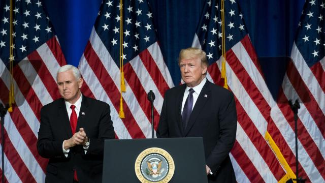 """President Donald Trump, with Vice President Mike Pence, speaks about the administration's national security strategy, at the Ronald Reagan Building in Washington, Dec. 18, 2017. Trump's plan envisions a world in which the United States confronts two """"revisionist"""" powers — China and Russia — that are seeking to change the global status quo, often to the detriment of America's interests. (Doug Mills/The New York Times)"""