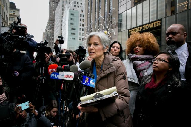 FILE — Jill Stein, the Green Party presidential candidate, speaks about the push to hold a vote recount, outside Trump Tower in Manhattan, Dec. 5, 2016. Senate investigators are examining links between Stein and Russian efforts to interfere with the 2016 election, she confirmed on Dec. 18, 2017. (Sam Hodgson/The New York Times)