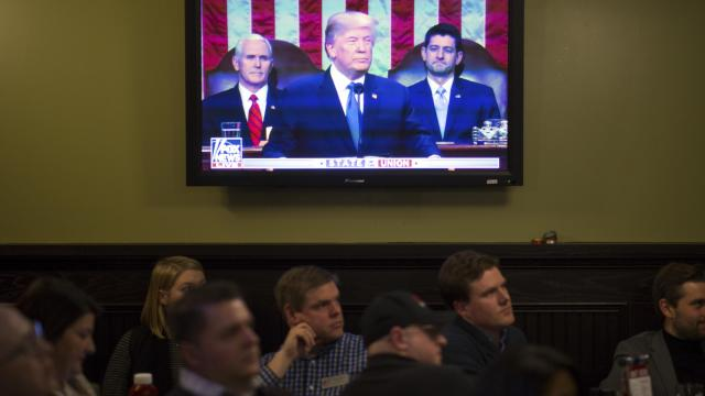 A watch party hosted by the Atlanta Young Republicans for President Donald Trump's State of the Union address in Atlanta, Jan. 30, 2018. (Kevin D. Liles/The New York Times)
