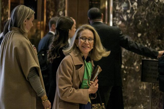 FILE — Kathleen Hartnett White at Trump Tower in Manhattan, Nov. 28, 2016. The Trump administration plans to withdraw its nomination of White, a climate change skeptic, to lead the Council on Environmental Quality, a White House official said. (Sam Hodgson/The New York Times)
