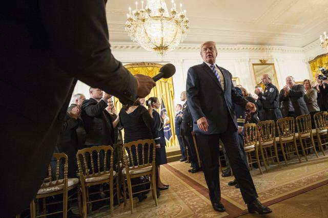 President Donald Trump leaves an event at the White House in Washington, Feb. 20, 2018. Trump — who once denied that Russia was involved in the 2016 election meddling — asked on Wednesday in a Twitter post why his attorney general, Jeff Sessions, was not investigating Democrats for Russian interference in the 2016 election. (Tom Brenner/The New York Times)