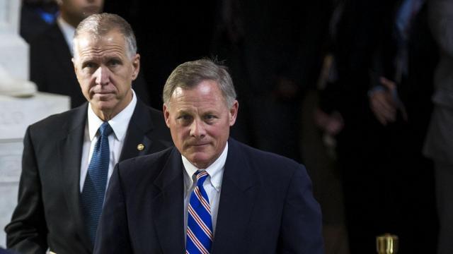 From left: Sens. Thom Tillis and Richard Burr of North Carolina in the Capitol Rotunda, in Washington, Feb. 28, 2018.(Al Drago/The New York Times)