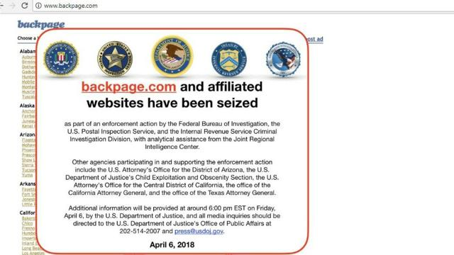 Justice Department Seizes Classified Ads Website Backpage Com