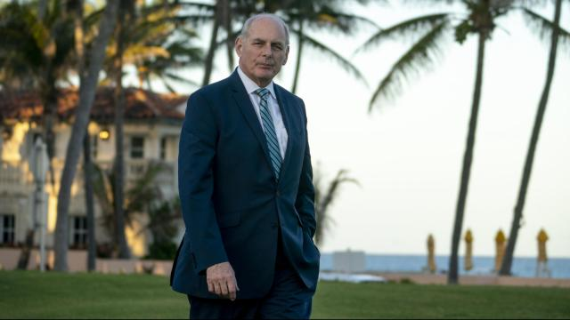 FILE -- John Kelly, White House chief of staff, on the lawn at Mar a Lago in Palm Beach, Fla., April 17, 2018. People working in the White House describe a surreal daily circumstance in which Trump's fatigue with his chief of staff is visible in their interactions, as is Kelly's desire to be done with his job. (Doug Mills/The New York Times)