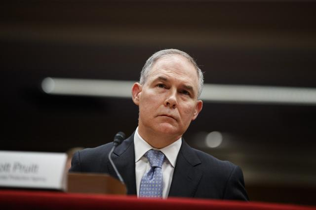 FILE — Scott Pruitt, the head of the Environmental Protection Agency, on Capitol Hill in Washington, May 16, 2018. The lobbyist whose wife rented a condo to Pruitt for $50 a night has revised his disclosure reports after his firm concluded he had not properly disclosed additional efforts to influence Pruitt and the EPA, including appeals when Pruitt lived in the condo. (Tom Brenner/The New York Times)