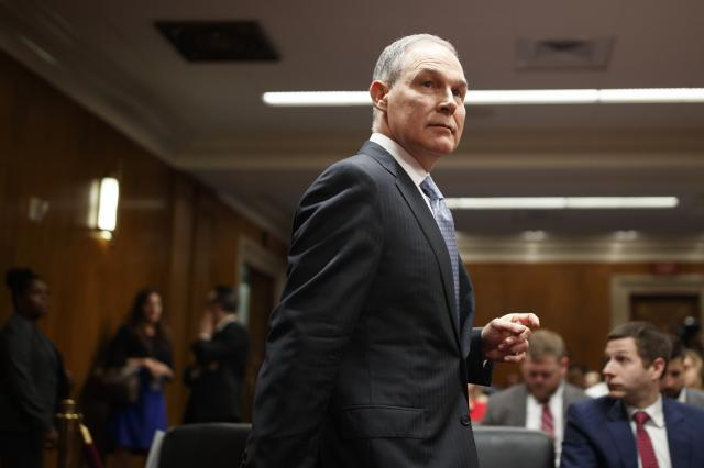 FILE — Scott Pruitt, the Environmental Protection Agency administrator, during testimony before the Senate Appropriations Committee on Capitol Hill in Washington, May 16, 2018. Millan Hupp, a senior Environmental Protection Agency official acted essentially as the personal assistant to Pruitt, helping him hunt for an apartment, travel to a college-football game and even try to procure a used mattress from the Trump International Hotel, congressional transcripts show. (Tom Brenner/The New York Times)