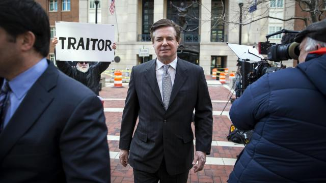 FILE -- Paul Manafort, President Donald Trump's former campaign chairman, leaves the federal courthouse an arraignment hearing in Alexandria, Va., March 8, 2018. The special counsel, Robert Mueller, brought new obstruction charges on June 8 against Manafort, and added allegations against a close associate, who prosecutors suspect has ties to Russian intelligence. Prosecutors said the obstruction charge relates to Manafort's efforts to coach the stories of witnesses against him. He remains charged with money laundering, illegal foreign lobbying and lying to federal officials. (Al Drago/The New York Times)