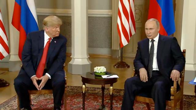 President Trump and Russian President Vladimir Putin speak at a summit on July 16, 2018 in Helsinki, Finland.