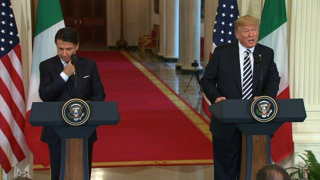 President Trump holds a joint news conference at the White House alongside Italian Prime Minister Giuseppe Conte.