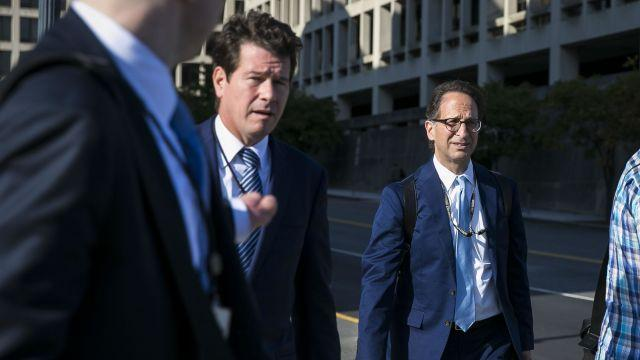 FILE — Greg Andres, left, and Andrew Weissmann, lawyers on the special counsel's staff, depart a sealed court hearing in Washington, Sept. 20 2017. Paul Manafort's August 2018 trial has provided the first real glimpse at the workings of Robert Mueller's team, the elusive lead players in the central drama of political life during the Trump administration. (Al Drago/The New York Times)
