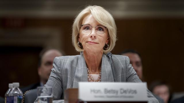FILE -- Education Secretary Betsy DeVos testifies before a Senate committee on Capitol Hill in Washington, June 5, 2018. DeVos says she will take no steps to prevent local school districts from using federal grant money to buy firearms. (Tom Brenner/The New York Times)