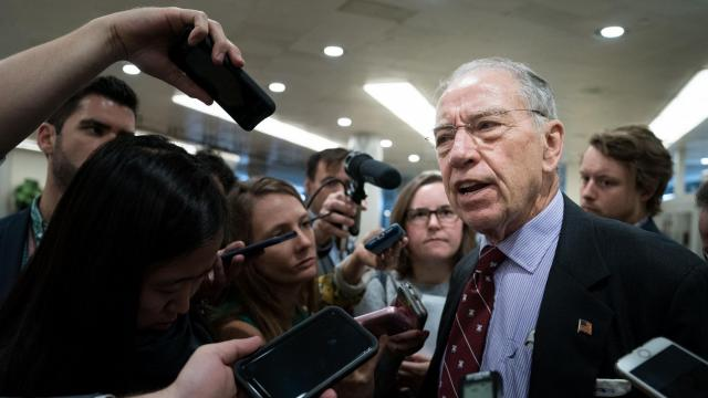 Sen. Chuck Grassley (R-Iowa) talks to reporters on Capitol Hill in Washington, Oct. 2, 2018. President Donald Trump and his Republican allies have embarked on a more aggressive effort to challenge the credibility of Judge Brett Kavanaugh's main accuser, rallying conservatives at the risk of alienating moderate Republicans needed to confirm him to the Supreme Court. (Erin Schaff/The New York Times)