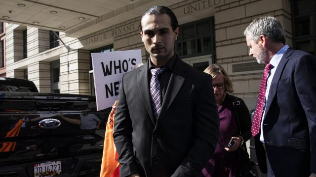 Richard Pinedo, the third person to be sentenced in the special counsel's investigation into Russian election interference, outside a court hearing in Washington, Oct. 10, 2018. Pinedo was sentenced to six months in prison for selling stolen bank account information that helped Russia wage a campaign aimed at influencing and disrupting the 2016 presidential race. (Samuel Corum/The New York Times)