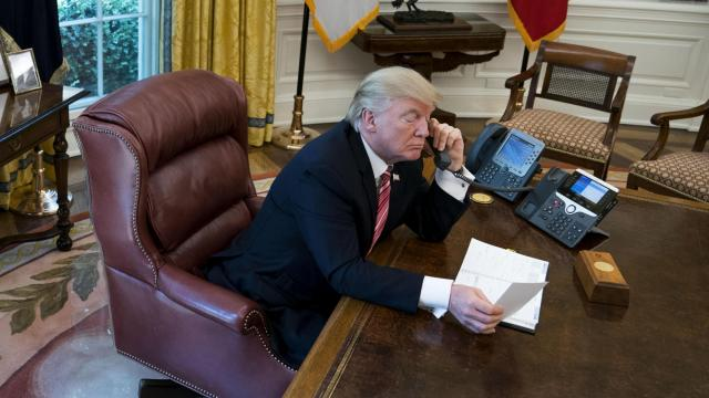 President Donald Trump speaks by phone  in the Oval Office of the White House in Washington, June 27, 2017.  (Doug Mills/The New York Times)