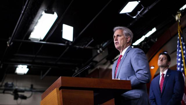 FILE -- House Majority Leader Kevin McCarthy (R-Calif.) speaks during a news conference with House Republican lawmakers on Capitol Hill in Washington, July 17, 2018. McCarthy will most likely succeed Paul D. Ryan as speaker if Republicans retain a majority after the midterm elections (Al Drago/The New York Times)