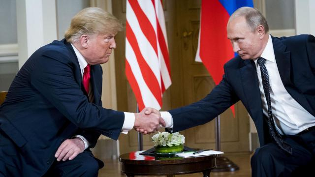 FILE -- President Donald Trump meets with President Vladimir Putin of Russia at the Presidential Palace in Helsinki, July 16, 2018. Trump said on Nov. 5, 2018, that a meeting with Putin expected to take place in Paris this weekend will be delayed, possibly until later in the month when both are planning to attend an international summit meeting in Buenos Aires. (Doug Mills/The New York Times)