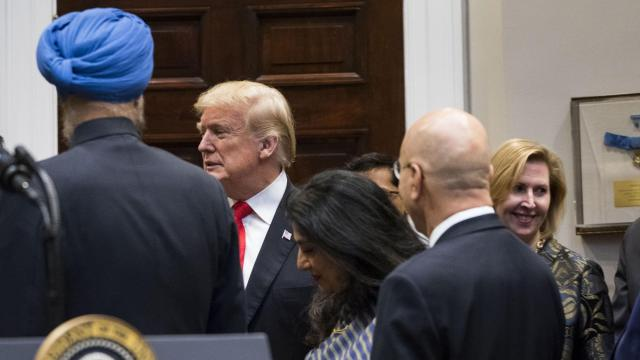 Mira Ricardel, who has been serving as a deputy to the national security adviser, John Bolton, looks on at right as President Donald Trump takes part in a ceremony to celebrate Diwali, the Hindu festival of lights, at the White House on Tuesday, Nov. 13, 2018. Ricardel is expected to be dismissed after the first lady, Melania Trump, complained about her to John Kelly, the White House chief of staff, according to a person familiar with the situation. (Doug Mills/The New York Times)