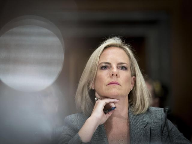 FILE -- Kirstjen Nielsen, the secretary of Homeland Security, during a Senate hearing on Capitol Hill in Washington, Oct. 10, 2018. President Donald Trump is considering firing Nielsen as part of a wave of cabinet and staff changes, three people close to the president said on Nov. 13, 2018. (Erin Schaff/The New York Times)