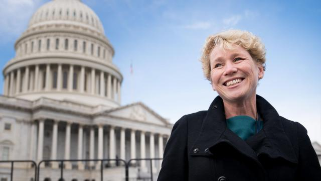Chrissy Houlahan of Pennsylvania, a Democrat, smiles after she and other incoming freshmen members of the House of Representatives took a group photo outside the Capitol in Washington, Nov. 14, 2018. House Republicans were to vote on their leadership today, though Democrats will not vote on their leaders until later in November. (Erin Schaff/The New York Times)