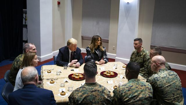 President Donald Trump speaks during a roundtable talk with Marines and first lady Melania Trump during a visit to the Marine Barracks in Washington, Nov. 15, 2018. (Al Drago/The New York Times