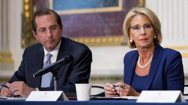 FILE -- Education Secretary Betsy DeVos attends a meeting of the Federal Commission on School Safety, in Washington, Aug. 16, 2018. DeVos unveiled sexual assault regulations for colleges and universities that bolster the rights of the accused. (Eric Thayer/The New York Times)