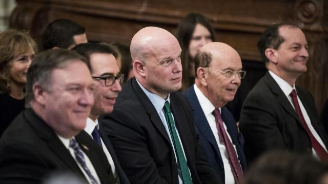 Acting United States Attorney General Matthew Whitaker is seen amongst cabinet members as President Donald Trump speaks at the Medal of Freedom ceremony in the East Room of the White House, in Washington, Nov. 16, 2018. The Supreme Court was asked to decide whether Trump acted lawfully in appointing Whitaker to be acting attorney general. The court also agreed to decide what evidence may be used in a challenge to the addition of a question concerning citizenship to the 2020 census. (Sarah Silbiger/The New York Times)