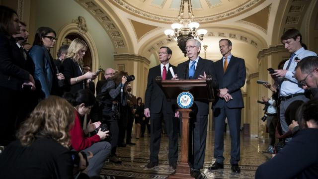 "Senate Majority Leader Mitch McConnell (R-Ky.) speaks to reporters alongside Sens. John Barrasso (R-Wyo.), John Thune (R-S.D.) and John Cornyn (R-Texas), in Washington, Nov. 27, 2018. President Donald Trump told House Republican leaders that Congress must accede to his demand to include $5 billion for a southern border wall in a hefty year-end spending bill. ""We're trying to get the president the money he would like for the wall,"" McConnell said. (Sarah Silbiger/The New York Times)"