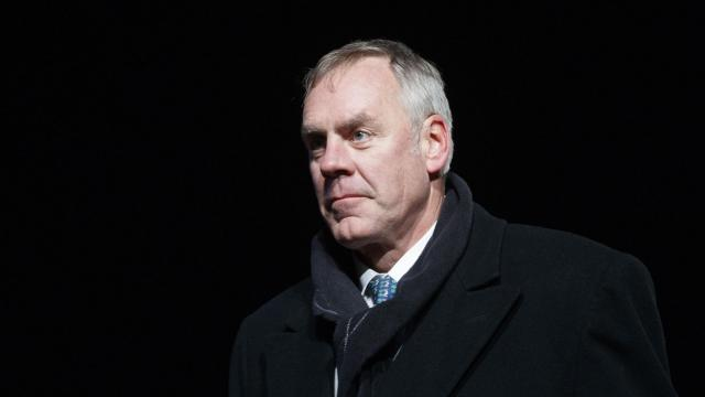 "Interior Secretary Ryan Zinke attends the 2018 Christmas Tree lighting, at The Ellipse near the White House in Washington, Nov. 28, 2018. Zinke accused Rep. Raul Grijalva (D-Ariz.) of paying ""hush money"" to cover up excessive drinking and a hostile work environment after the lawmaker wrote an op-ed calling for the secretary to resign. (Tom Brenner/The New York Times)"