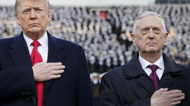 FILE-- President Donald Trump and Defense Secretary Jim Mattis at the annual Army-Navy Collegiate football game at Lincoln Financial Field in Philadelphia, Dec. 8, 2018. Mattis, the four-star Marine general turned defense secretary, will retire at the end of February 2019, President Donald Trump said via Twitter on Dec. 20. (Tom Brenner/The New York Times)