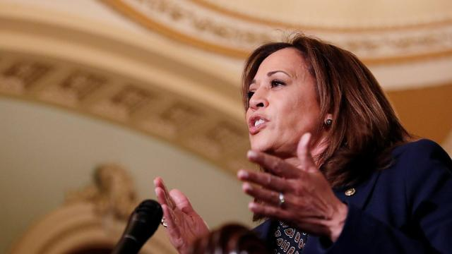 **This image is for use with this specific article only** Kamala Harris did not mention President Donald Trump by name as she officially announced her run for president on Sunday, but she she issued a sharp, mocking attack on his relationship with Russia. (Leah Millis/Reuters)