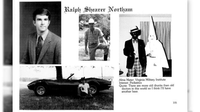 **This image is only available for use together with the CNN.com article with which it originally appeared, and may not be downloaded from this site for any other purposes.** A yearbook page of now Virginia Democratic Governor Ralph Northam shows a photograph of two people, one in blackface and one in a KKK hood and robe. (Eastern Virginia Medical School)