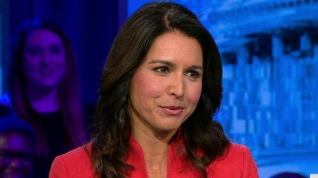 Rep. Tulsi Gabbard in the early 2000s touted working for her father's anti-gay organization, which mobilized to pass a measure against same-sex marriage in Hawaii and promoted controversial conversion therapy. (CNN)
