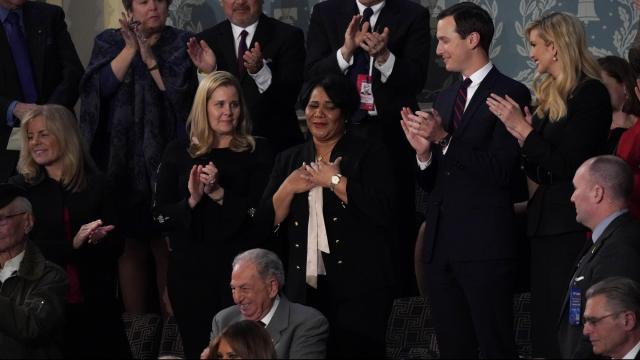 Alice Johnson, who had been serving life in prison for a nonviolent drug conviction before her release, is recognized during President Donald Trump's State of the Union address, at the Capitol in Washington, Feb. 5, 2019. At right are Jared Kushner, the president's son-in-law and adviser, and Ivanka Trump. (Erin Schaff/The New York Times)