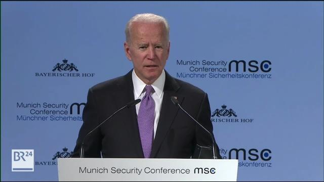 Former Vice President Joe Biden on Saturday delivers remarks at an annual gathering of political leaders and security experts in Munich, Germany, as he draws closer to a decision about whether to run for president in 2020. (POOL)