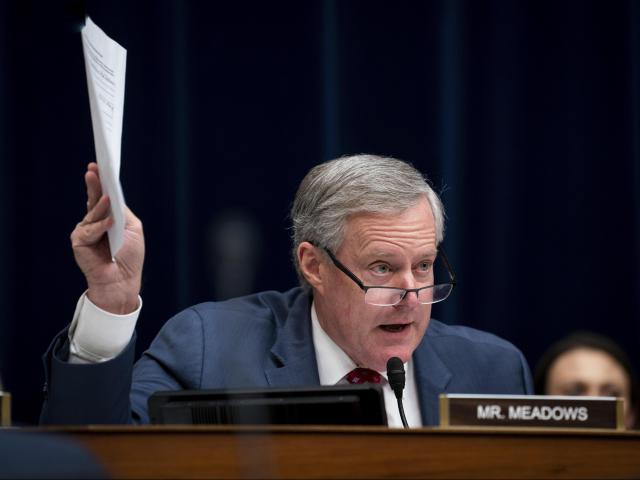 Rep. Mark Meadows (R-N.C.) questions Michael Cohen, President Donald Trump's former personal lawyer, during a House Oversight and Reform Committee hearing where Cohen was testifying on Capitol Hill, in Washington, Feb. 27, 2019. (Erin Schaff/The New York Times)