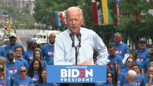 Joe Biden used the first major rally of his 2020 presidential campaign to issue a call for unity. (CNN)