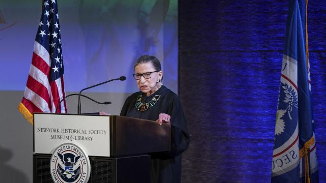 """FILE -- Justice Ruth Bader Ginsburg speaks at an event in New York, April 9, 2018. Ginsburg underwent treatment for a malignant tumor discovered on her pancreas, according to a news release issued by the Supreme Court on Aug. 23, 2019. """"The tumor was treated definitively and there is no evidence of disease elsewhere in the body,"""" the statement said. (Chang W. Lee/The New York Times)"""